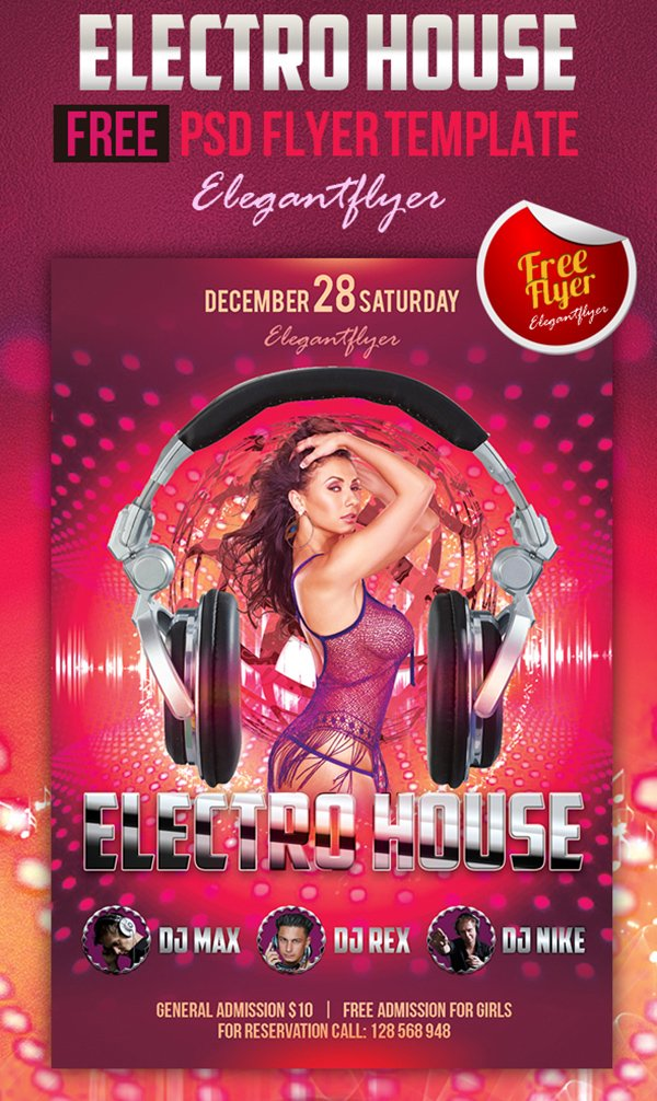 Electro House – Free Club and Party Flyer PSD Template