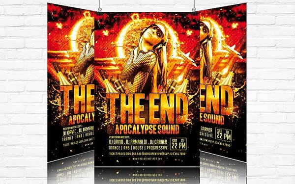 The End Free Party Flyer Template PSD