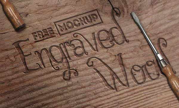 Engraved Wood Mockup With Free PSD