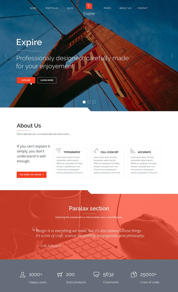 EXPIRE PSD Website Theme