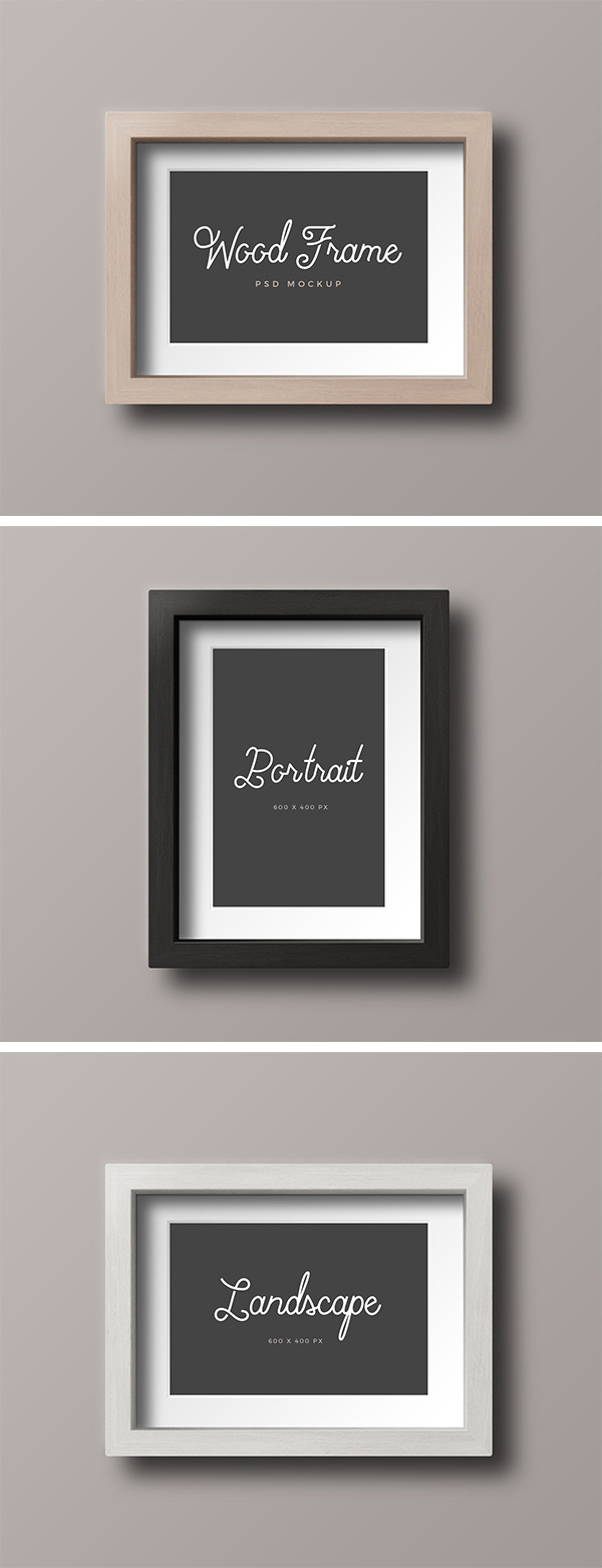 Wood Photo Frame - Free Mockup