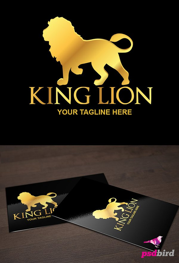 Free King Lion Logo Template PSD