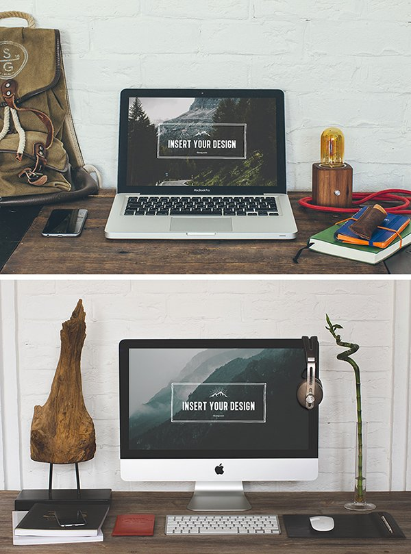 2 Hip Desktop Mock-up Templates