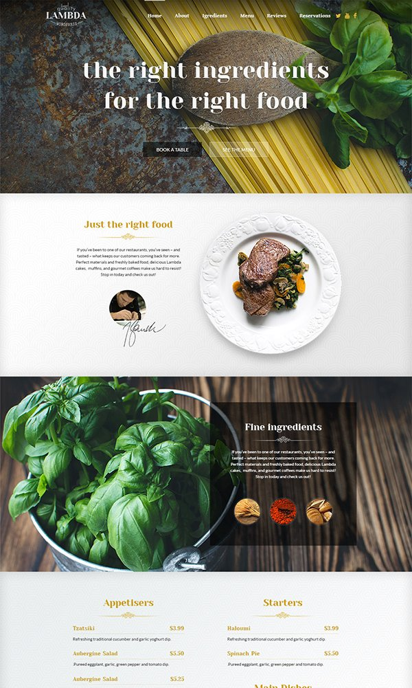 Free One Page Restaurant PSD Web Template