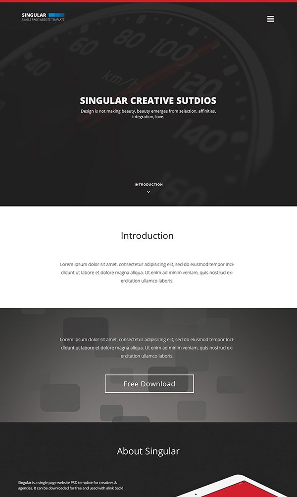 One Page Website Template – Singular