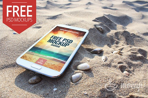 Samsung Note 2 Mockup Beach