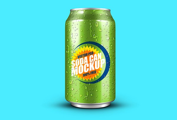 Soft Drink Can PSD Mockup