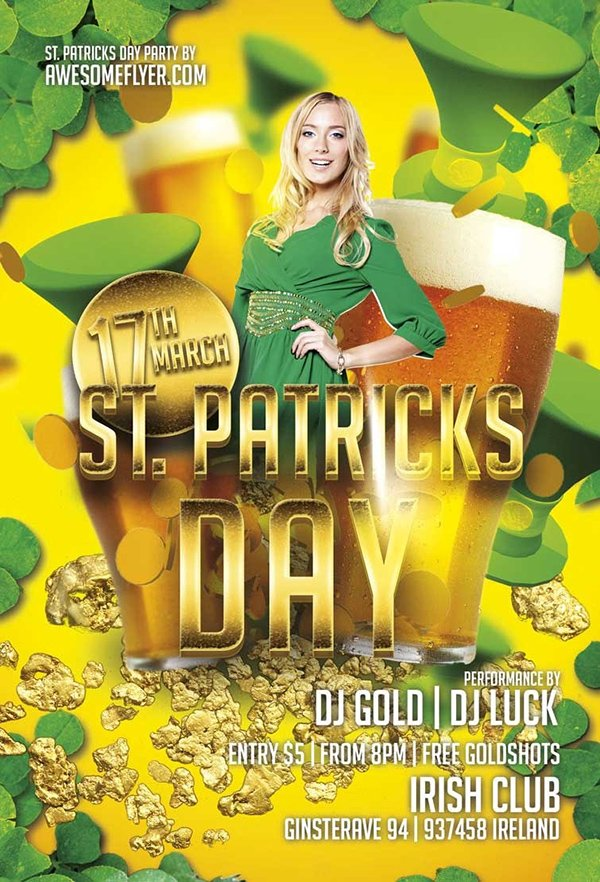 ST. PATRICKS Day Gold Flyer Template