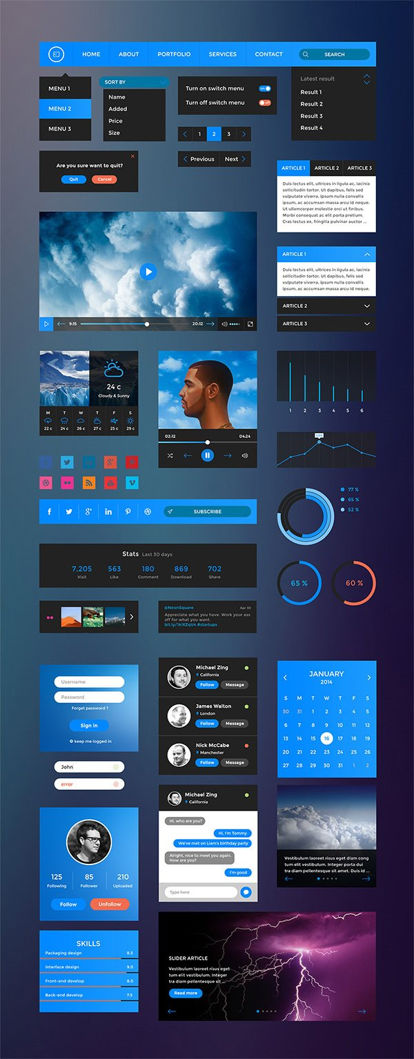 Free UI Elements PSD Kit