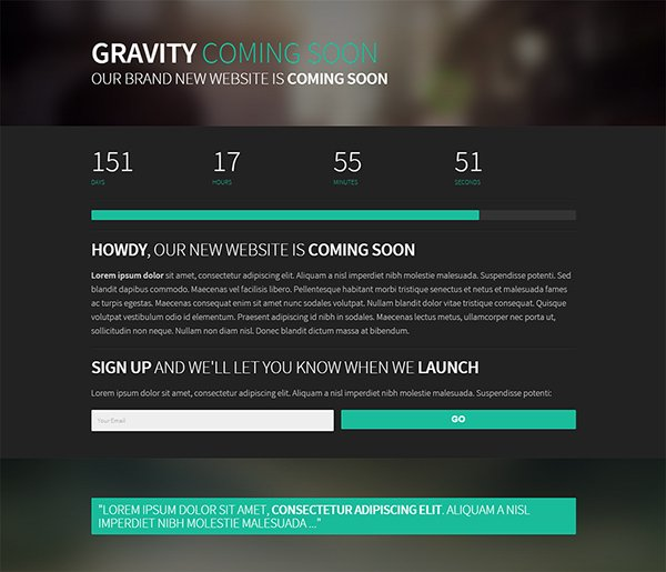 Gravity - Coming Soon Template