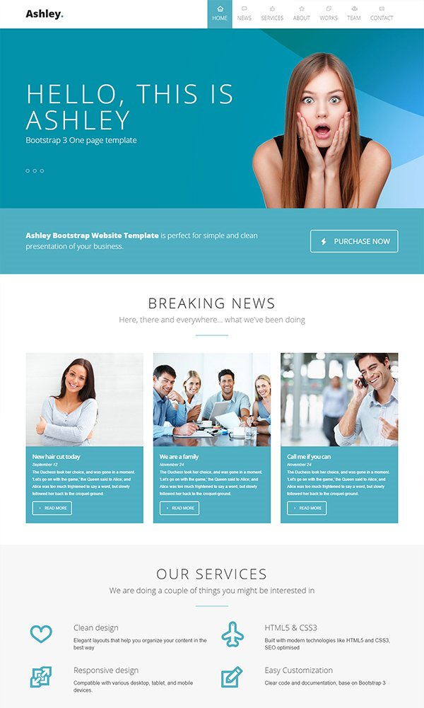 201 amazing free psd website templates ashley website template wajeb Images