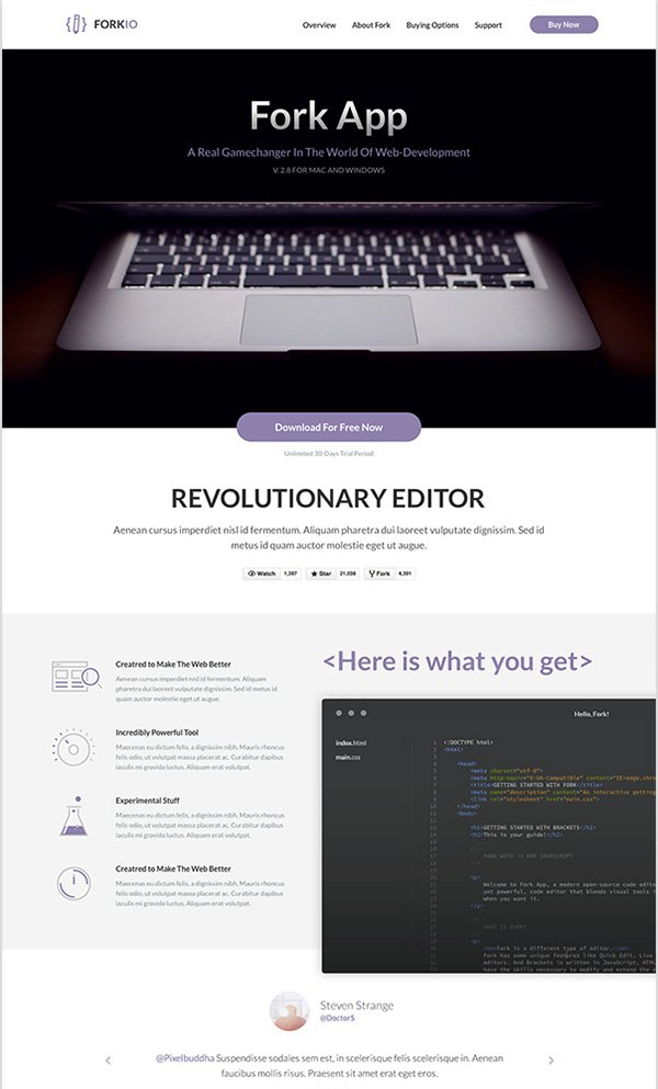Forkio: One-Page Bootstrap Template