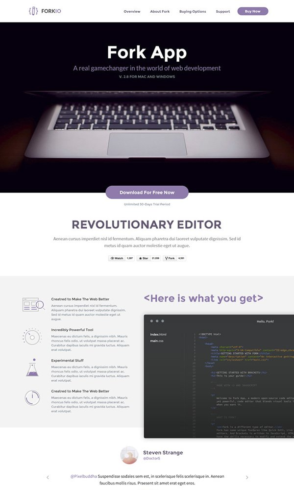 Forkio One Page Free PSD Website Template