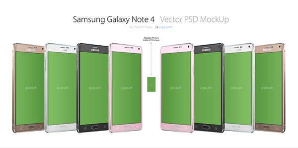 GALAXY NOTE 4 3/4 PSD MOCKUP