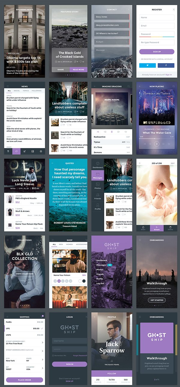 Ghost Ship Mobile Free PSD UI Kit