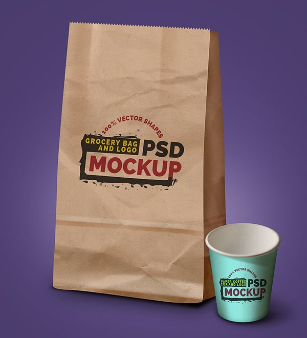 Grocery Bag, Coffee Cup & Logo - Free PSD Mock-up Template