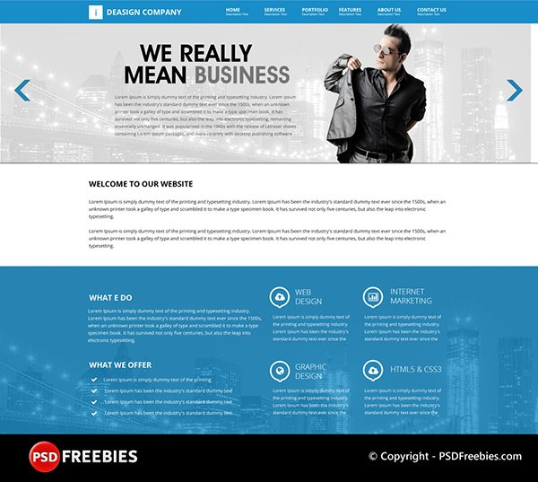 iDesign OnePage PSD Template