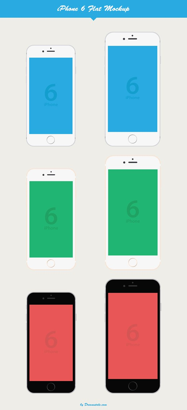 iPhone 6 Flat Vector Mockup