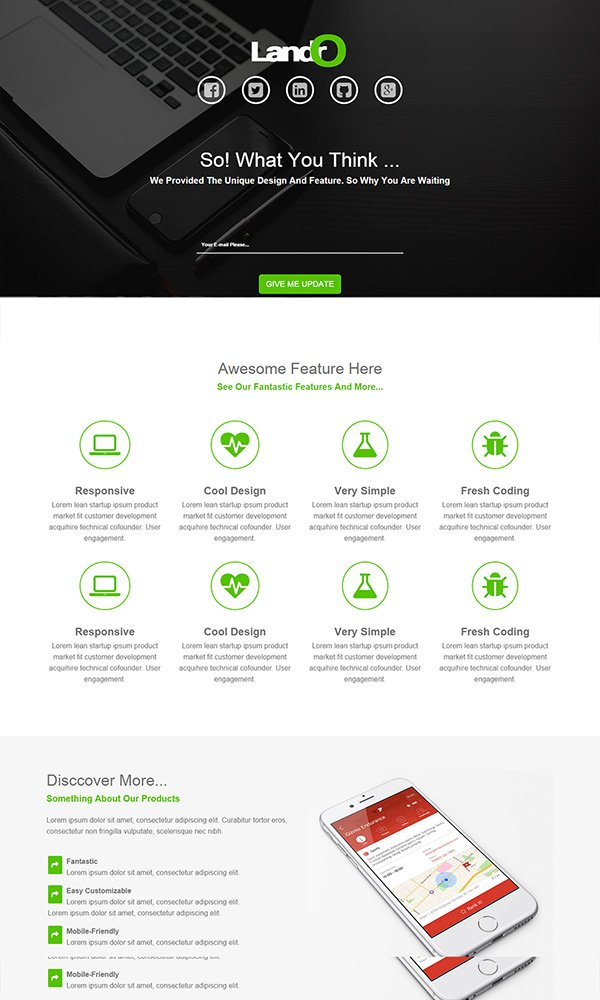 Landro – Bootstrap 3 App Coming Page