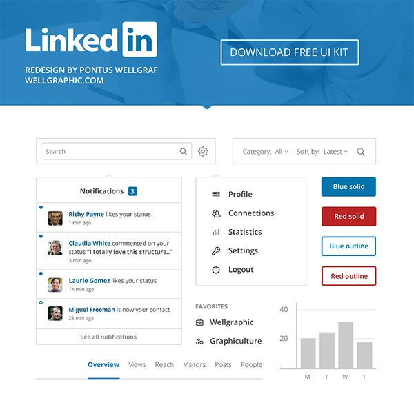 LinkedIn Redesign – FREE UI KIT