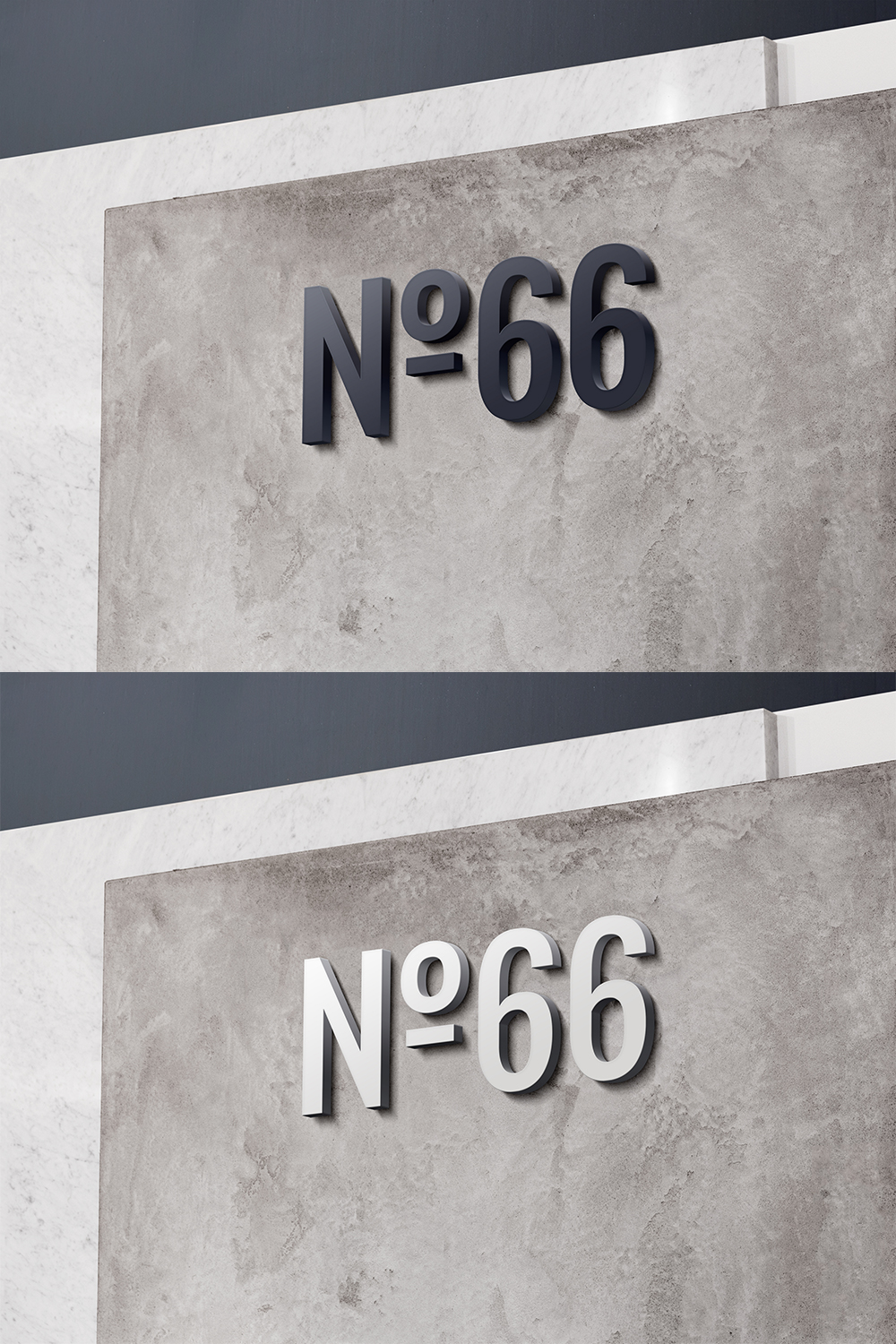 3D Wall Mount Sign Mockup - Free PSD