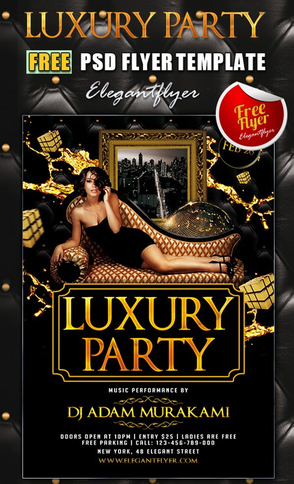 luxury party club flyer psd