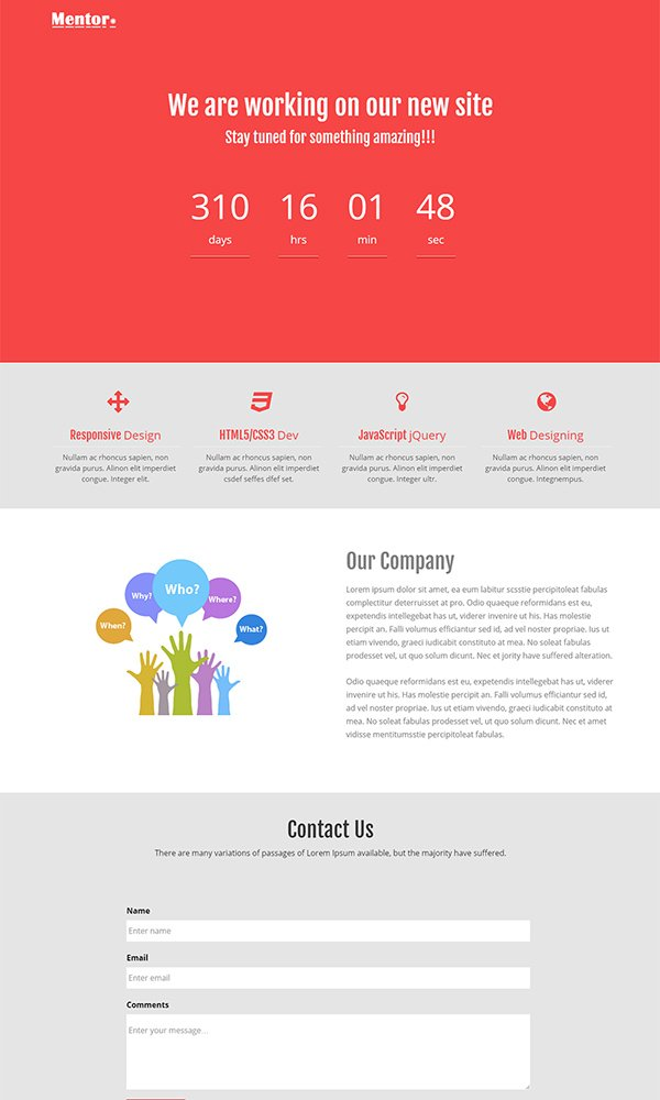 Mentor Free HTML5 Coming Soon Website Template