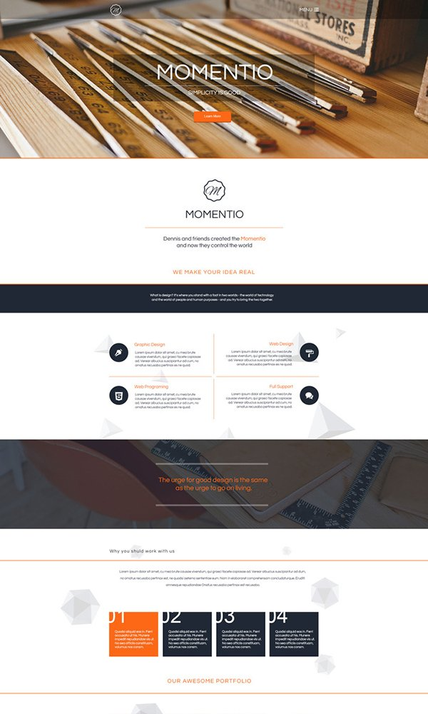 Momentio - Single Page PSD Web Template