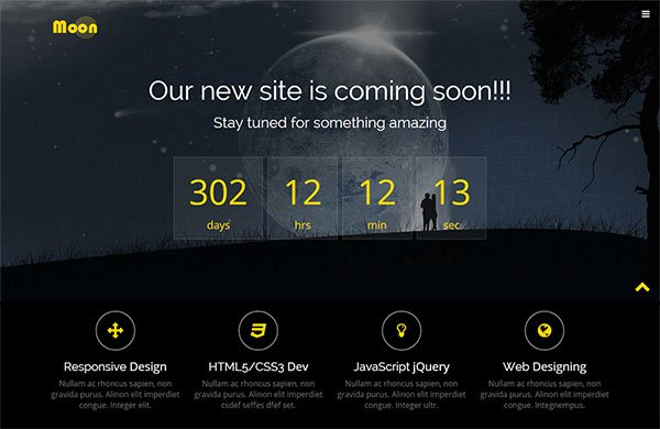 Moon Free HTML5 Coming Soon Website Template