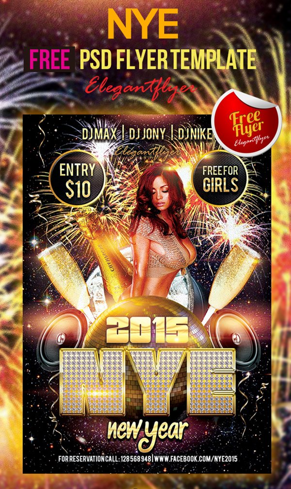 New Year – Free Club and Party Flyer PSD