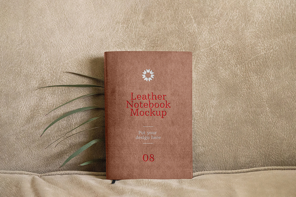 Standing Leather Notebook - Free Mockup Template