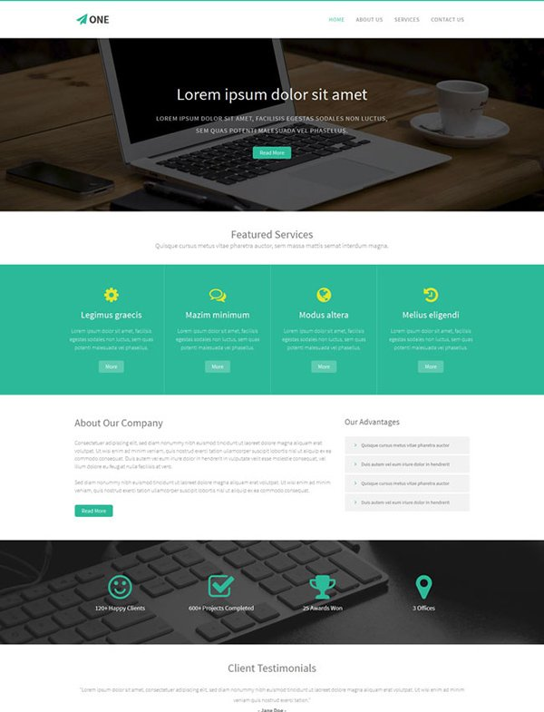 One – Free Bootstrap HTML5 Template
