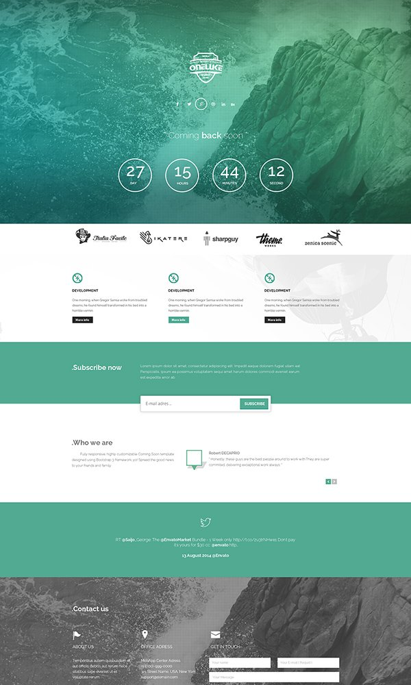 Ontario – Coming Soon Responsive Psd Template