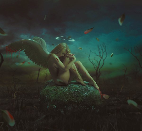 Photo Manipulate a Dark, Emotional Fallen Angel Scene