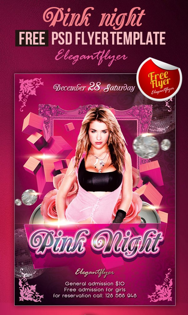 Pink Night – Club and Party Free Flyer PSD Template