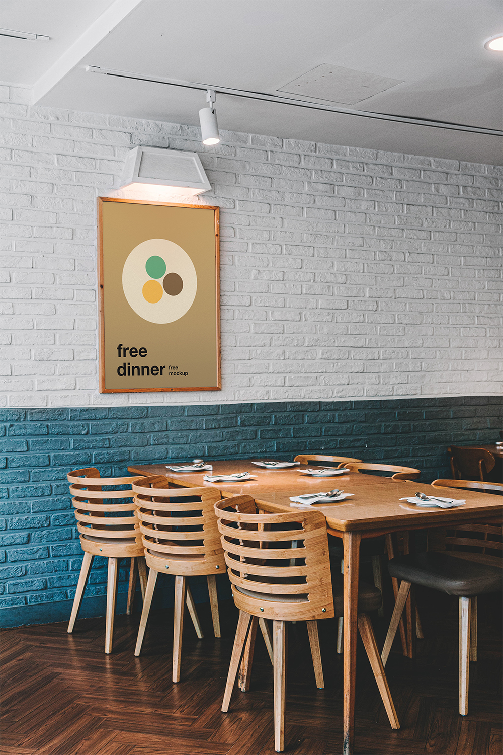Free Poster in Cafe Mockup