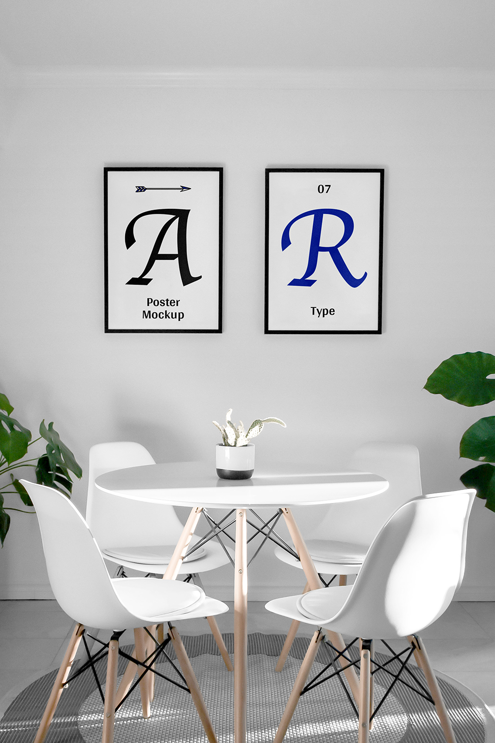 Two Poster Frames in Modern Setting - Free Mockup