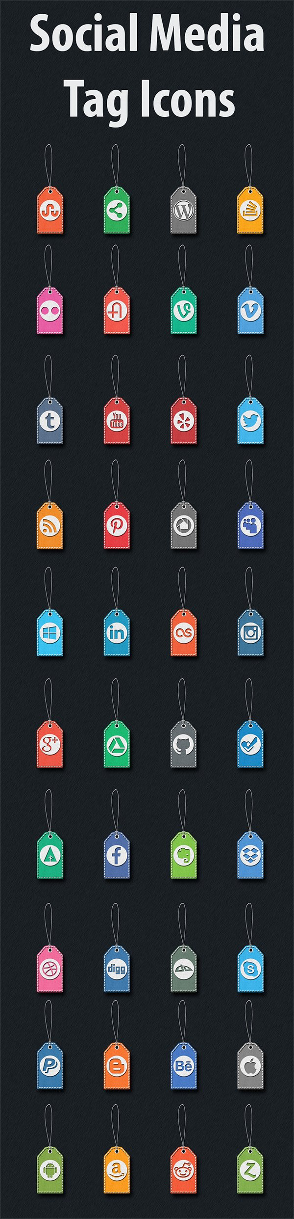 40 Stitched Social Media Tag Icons