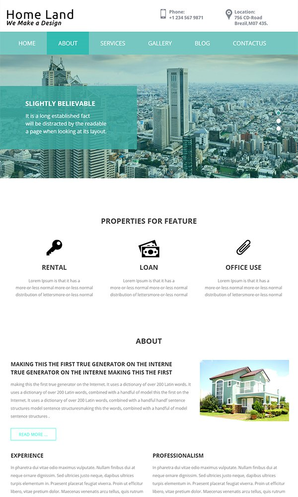 Home Land - A Real Estate Web Template