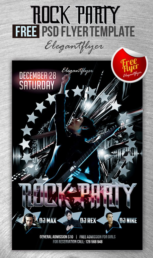 rock party club and party free flyer psd template