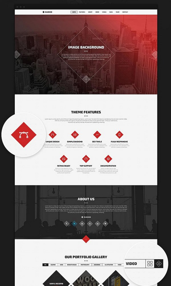 RUBIKO: Creative One Page PSD Website Template