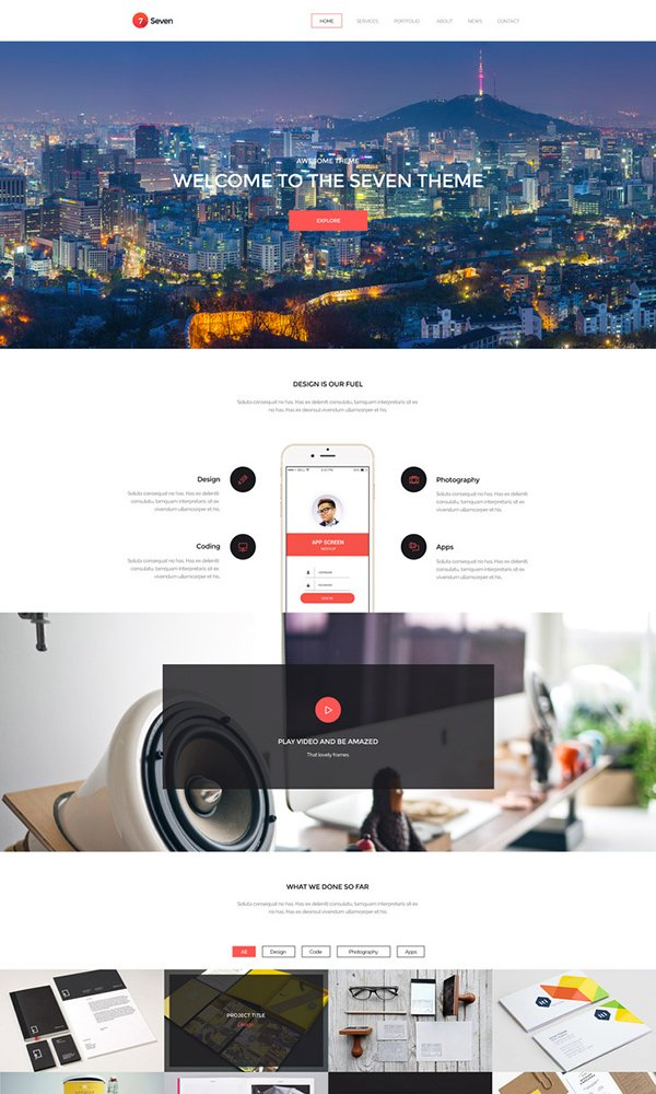 Seven - Creative Portofolio Free PSD Website Template
