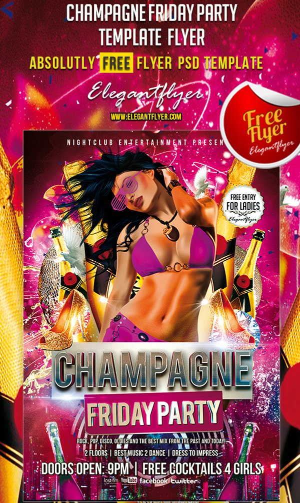 Shampagne Friday Party – Free Club and Party Flyer PSD