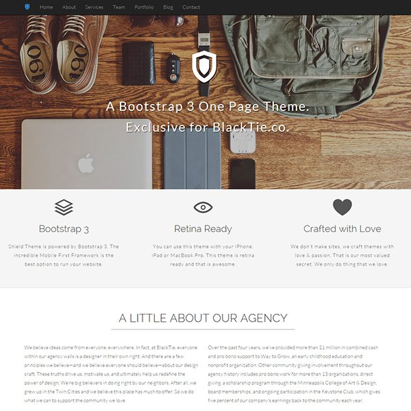 Shield One Page Theme