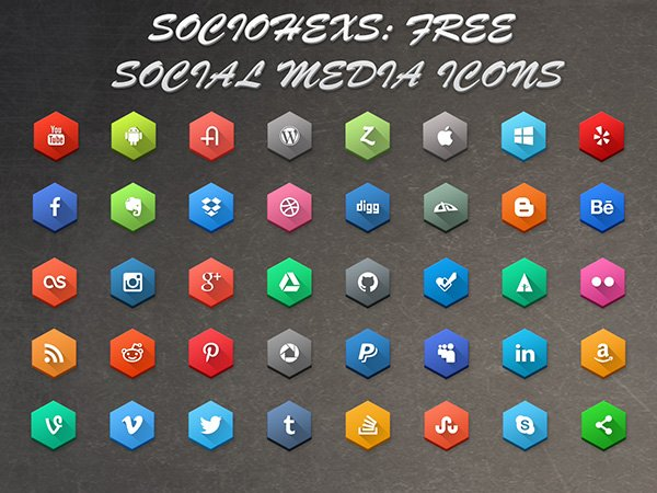 SocioHexs: 40 Free Hexagonal Social Media Icons