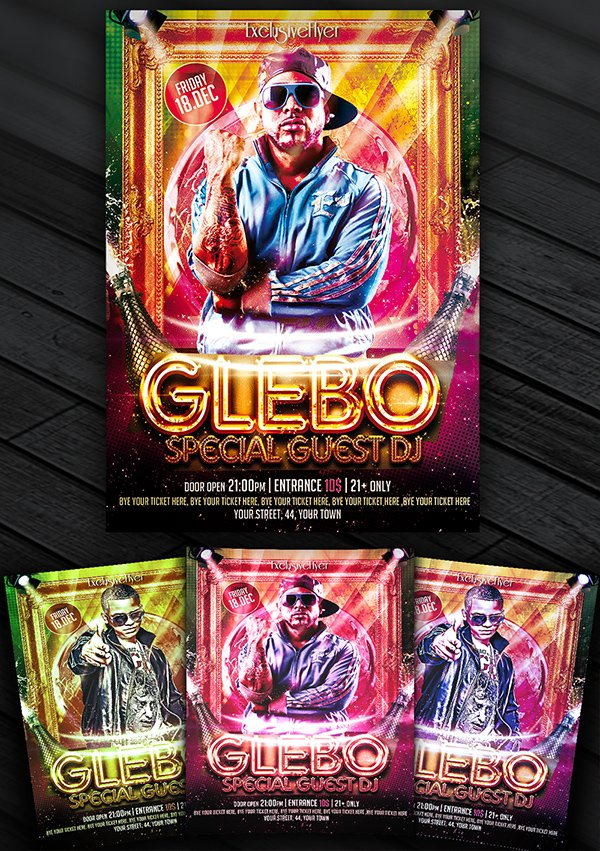 Special Guest DJ Glebo – Free Club and Party Flyer Template