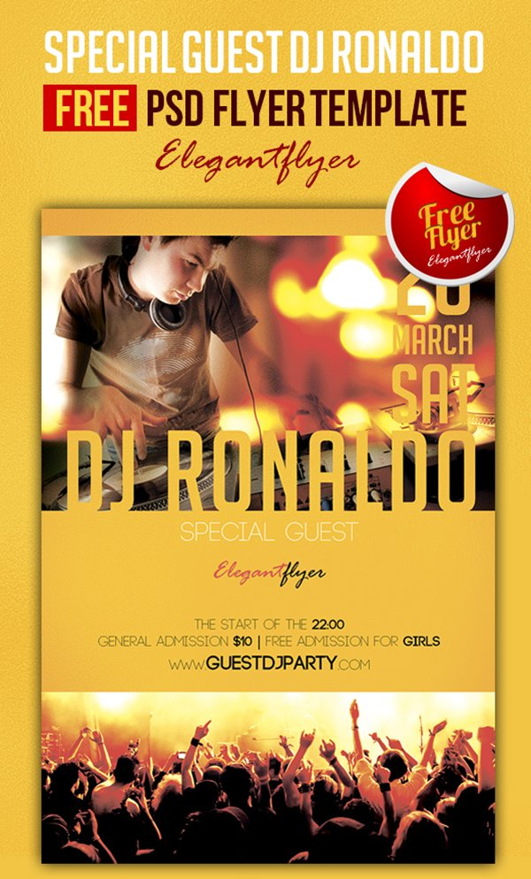 Special Guest DJ Ronaldo – Club and Party Free Flyer PSD Template + Facebook Cover