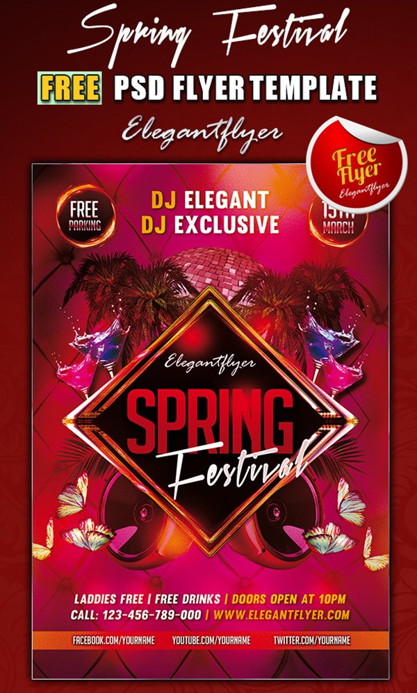 Spring Festival Club Flyer Template