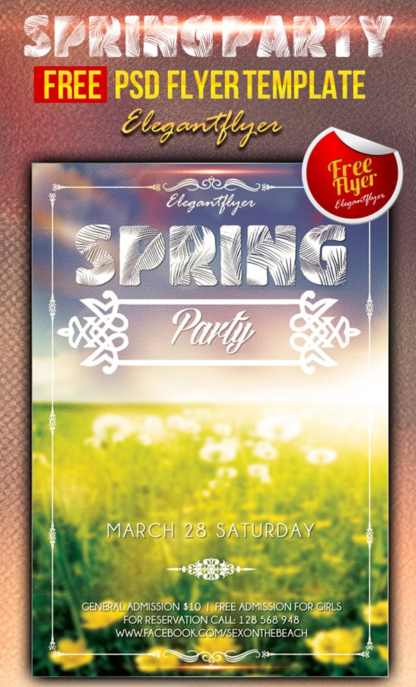 Spring party – Club and Party Flyer Template PSD