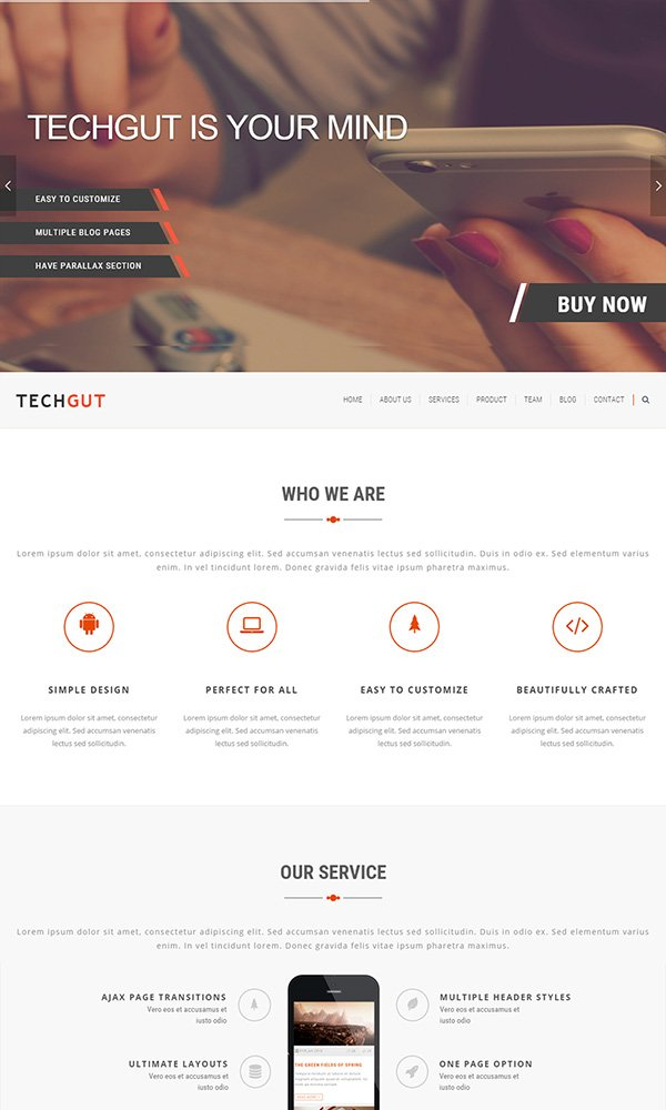 Techgut - Responsive Corporate One Page Theme